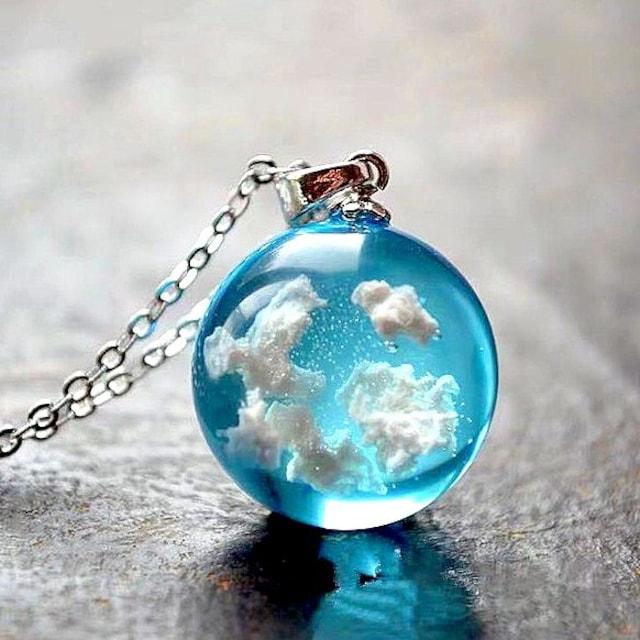新品1円〜★送料無料★空の雲 ブルースカイ 青空 シルバーネックレス
