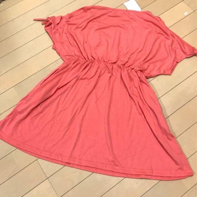 新品◆レトロガール◆肩空きチュニックカットソー◆Mオレンジ < 女性ファッションの