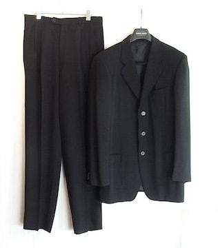size50☆良品☆アルマーニ Borgo21 3釦スーツ ブラック