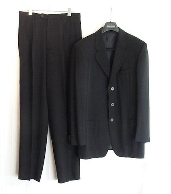 size50☆良品☆アルマーニ Borgo21 3釦スーツ ブラック  < ブランドの