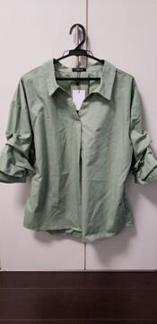 新品袖タックスキッパ−シャツLカーキ