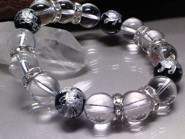 銀四神獣オニキス水晶12ミリ数珠 < 男性アクセサリー/時計の