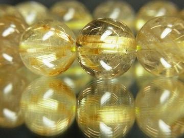 勝ち運を上げる??金針水晶ゴールドルチル14ミリ数珠ブレスレット
