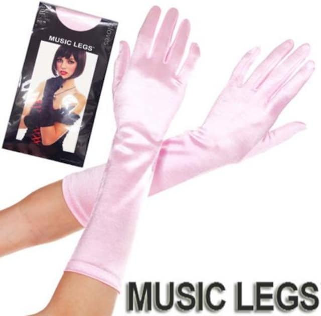 A291)LA発MusicLegs肘丈サテングローブピンクひじ丈ダンス衣装ダンサー発表会  < 女性ファッションの