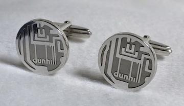 正規レア ダンヒルdunhill ロゴコントラストカフス SV925×クローム カフリンクス アイコンボタン