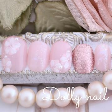 みぢょ!チビ爪ベリショ大人可愛いピンクベージュ春色フラワーお花ネイル
