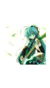 初音ミクがベースギターを弾いてる生写真