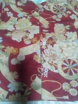 ☆処分品新品赤×牡丹花車短冊和柄ダボシャツ100