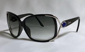正規美レア Diorディオール メタルアイライン×ラピスストーン×ロゴ文字装飾 サングラス黒