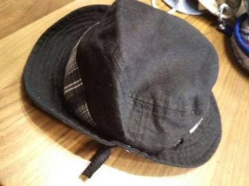 48★コムサイズム 麻混じり帽子 ハット キャップ ブラック黒