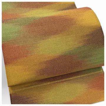 美品 極上 特選 八寸名古屋帯 多彩 茶系 織り模様 名古屋帯 正絹