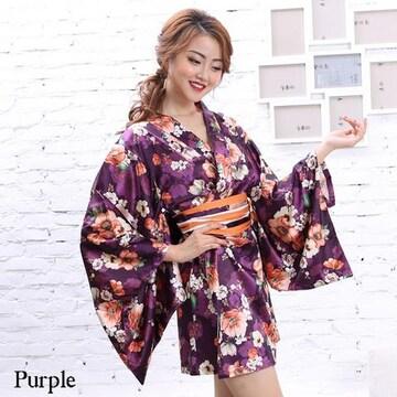 花柄 サテン着物ドレス ミニ 和柄 よさこい コスプレ キャバ 衣装 チャムドレス