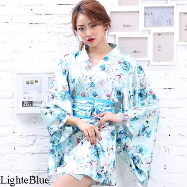 花柄 サテン着物ドレス ミニ 和柄 よさこい コスプレ キャバ 衣装 チャムドレス < 女性ファッションの