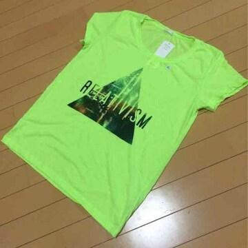 新品◆G.Uジーユー◆グラフィックTシャツ◆蛍光ライムグリーンXL