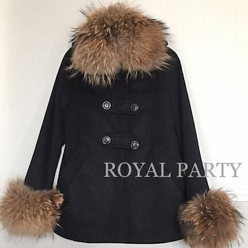 定価26,040円【美品】ROYAL PARTY ラクーン衿付きコート Black