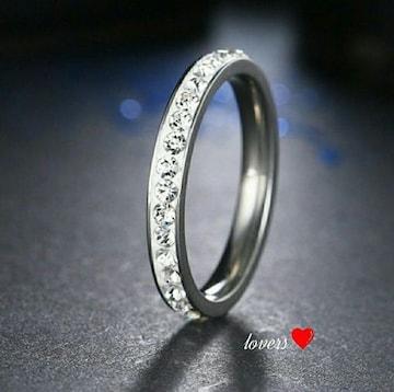 送料無料27号シルバースーパーCZダイヤフルエタニティリング指輪