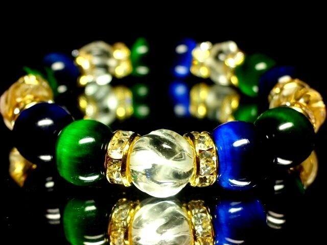 エメラルドブルータイガーアイ§グリーンタイガーアイ§トルネード水晶10ミリ金ロンデル数珠  < 女性アクセサリー/時計の