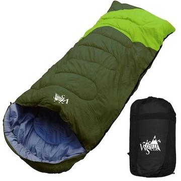 寝袋 ワイド 封筒型 最低使用温度 -5℃ ダークグリーン