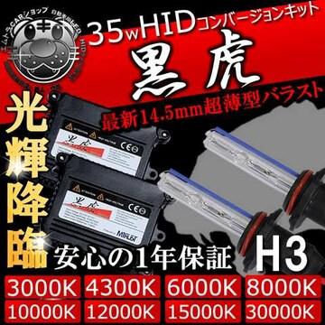HIDキット 黒虎 H1 35W 6000K ヘッドライトやフォグランプに キセノン エムトラ