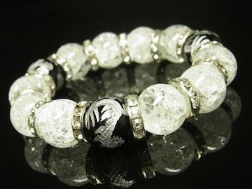 夢を叶える数珠 銀彫皇帝龍オニキス×クラック水晶ブレスレット 14mm