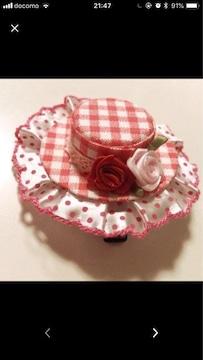 赤白チェックドットフリル薔薇可愛いミニハットクリップピン