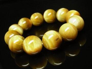 黄金虎目石ゴールデンタイガーアイ16ミリ数珠ブレスレット 才能開花