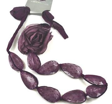 新品アンティーク調薔薇コサージュチュールネックレス 紫
