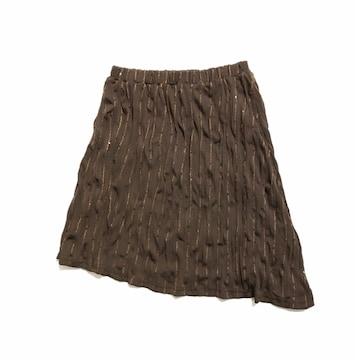 ☆(ゴム)アシンメトリースパンコール焦茶シワ加工スカート美品