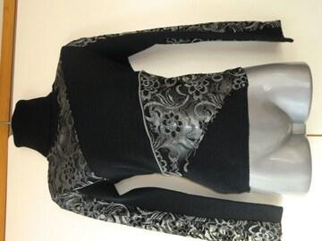 ●新品フランス製ラメ刺繍ファスナー使い高級セーター●