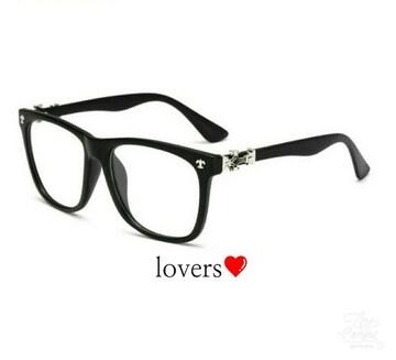 送料無料クリアブラック黒シルバークロス十字架めがねメガネ眼鏡