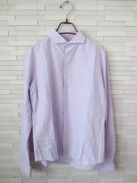 EDIFICE/ホリゾンタルカラーストライプ綿麻長袖シャツ/紫白/46