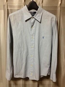 ポロラルフローレン 無地 長袖シャツ XS〜Sサイズ16 青水色 古着 ヴィンテージ