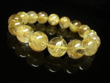 財をもたらす天然石数珠 タイチンルチルブレスレット 12ミリ玉 水晶