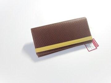 希少!ELLE PLANTE エル 格子型押 長財布 茶色 馬革製