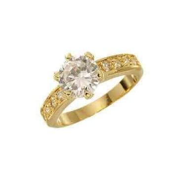 8号 キュービックジルコニア 6本爪 ゴールド 指輪