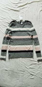 H&M霜降りグレー黒ピンク白ボーダー薄手丸首長袖ニットセーター