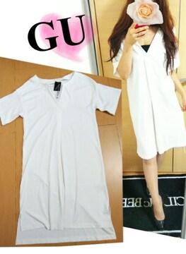 GU◆ボーイズライク♪ビッグTシャツワンピ☆サイドスリット胸元スキッパー&ドレープ