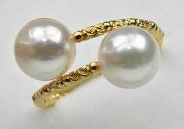 K18 ゴールド あこや真珠 パール デザイン リング