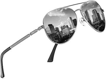 DUCO メンズ サングラス UV400 偏光サングラス ブラック アビ