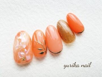 ジェル☆春カラー天然石メタリックゴールドボタニカル