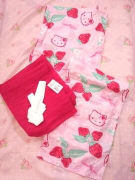 〓ピンクにイチゴとリボン柄がとっても可愛いキティちゃんの大人浴衣〓〓