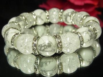 ホワイトターコイズ×爆裂水晶クラック数珠♪14ミリ珠