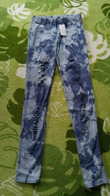 カッコイイ(^3^)◆XL◆ダメージ加工&タイダイ染クラッシュパンツ < 女性ファッションの