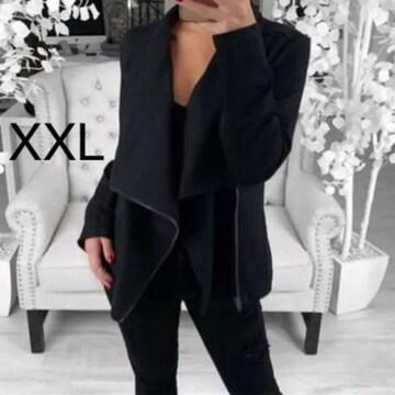 新品☆シンプル♪ななめジップ付きジャケット ブラック XXL
