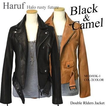 Haruf/本革レザージャケット/レディースMサイズ/ブラック