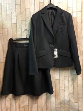 新品☆11号スカートスーツ黒無地変り織り素材お仕事にもn965