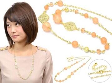 新品 レースメタル&ビーズネックレス オレンジ