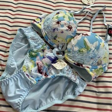 新品 D 65M ブラジャー&ショーツセット ブルー花柄