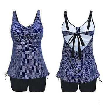 新品【7271】【9L】(特大サイズ)紺ピンドットキャミソールXと黒パンツの水着
