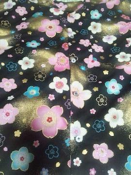 ☆新柄黒×着物風金彩桜柄ダボシャツ150